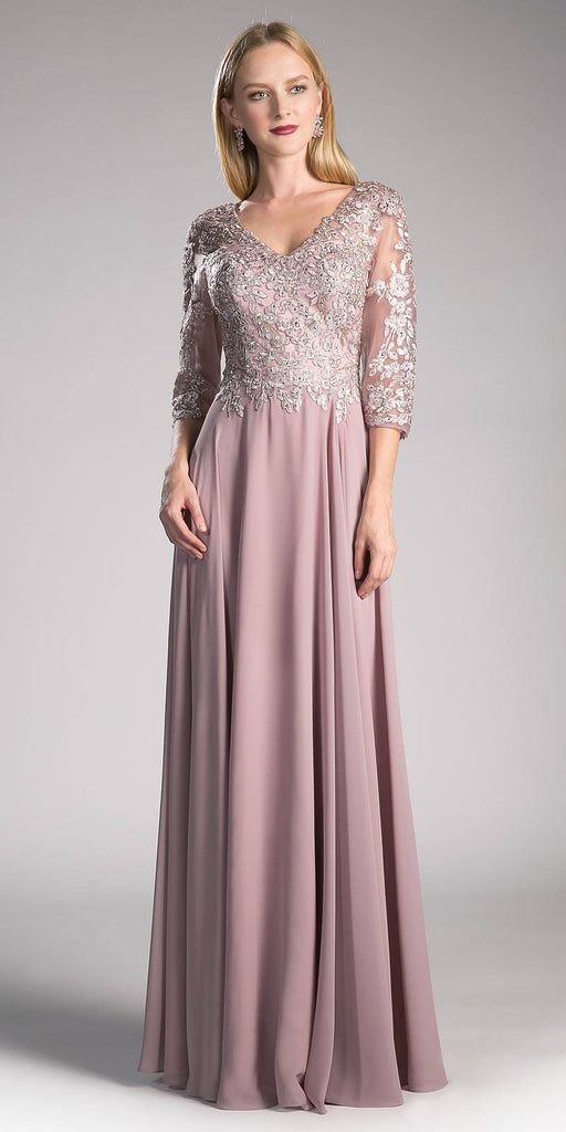 Mocha Long Formal Dress Mid-Sleeve Appliqued