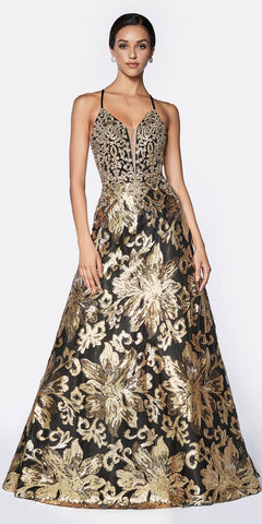 Cinderella Divine CD0125 A-Line Sequin Ballgown Black/Gold V-Neckline Criss Cross Back