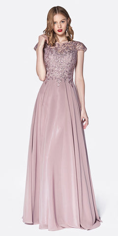Flowy A-Line Chiffon Cap Sleeve Dress Mauve Beaded Bodice