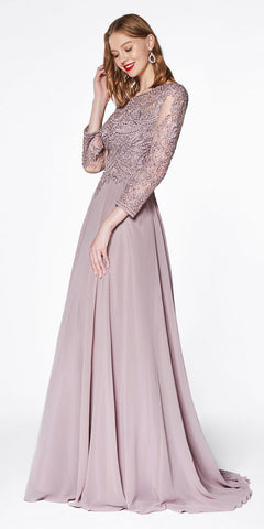 Flowy Chiffon Lilac Dress Knee Length Long Sleeve Cardigan