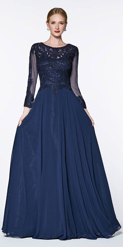 Flowy A-Line Chiffon Three-Quarter Sleeve Navy Blue Gown