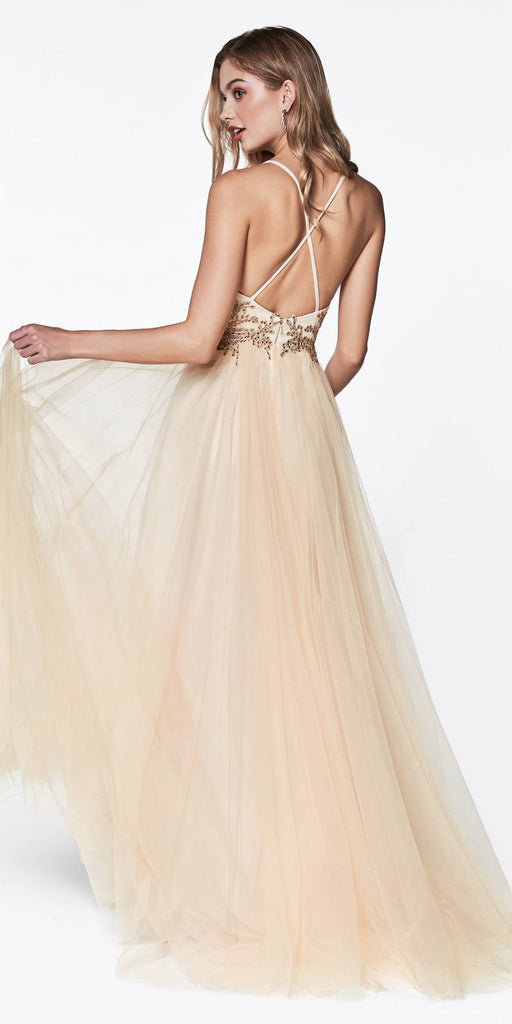 Flowy A-Line Tulle Dress Champagne Lace Bodice Detail Criss Cross Back