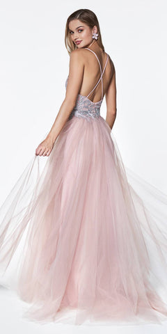 Flowy A-Line Tulle Dress Mauve Lace Bodice Detail Criss Cross Back