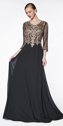 Khaki V-Neck Long Dress Empire Lace Chiffon Include Lace Jacket