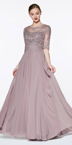 Mauve Chiffon Long Mother of Groom Dress 3/4 Sleeve