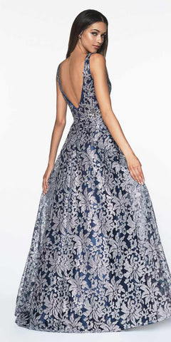 Floral Glittered Ball Gown With Deep Plunge Neckline And Open Back