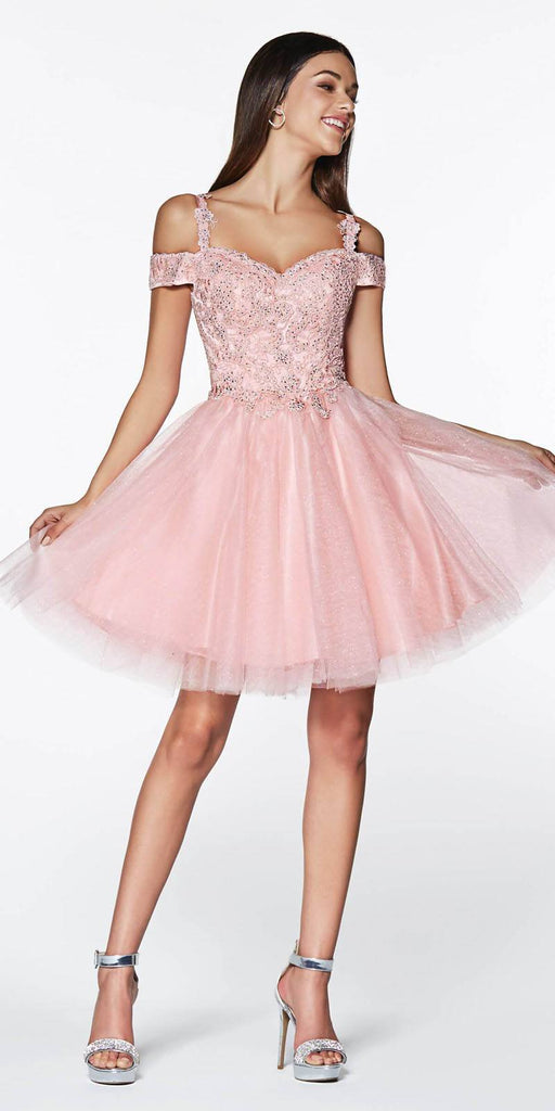Cinderella Divine CD0132 Short Homecoming Dress Blush Off The Shoulder Lace Detail Glitter Tulle Skirt