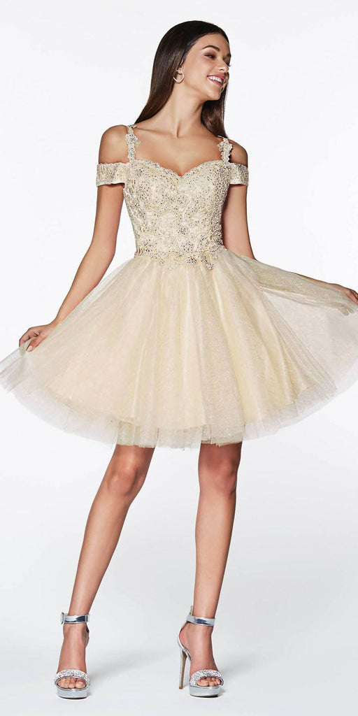 Cinderella Divine CD0132 Short Homecoming Dress Champagne Off The Shoulder Lace Detail Glitter Tulle Skirt
