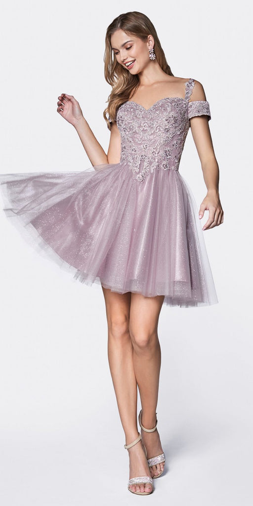 Cinderella Divine CD0132 Short Homecoming Dress Mauve Off The Shoulder Lace Detail Glitter Tulle Skirt