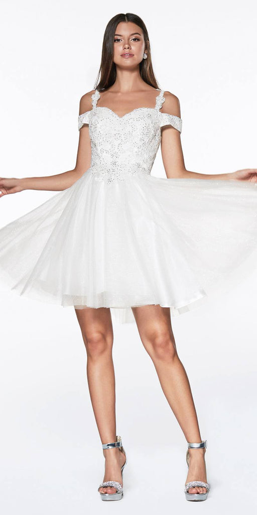 Cinderella Divine CD0132 Short Homecoming Dress Off White Off The Shoulder Lace Detail Glitter Tulle Skirt