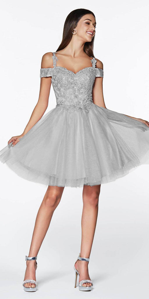 Cinderella Divine CD0132 Short Homecoming Dress Silver Off The Shoulder Lace Detail Glitter Tulle Skirt