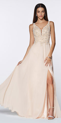Cinderella Divine CD0133 Floor Length A-Line Chiffon Gown Champagne Lace Bodice With Slit