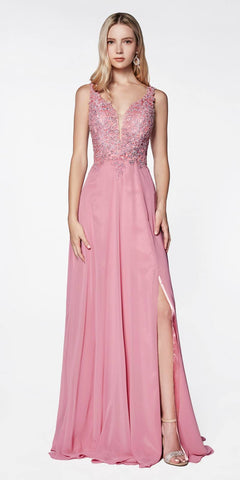 Cinderella Divine CD0133 Floor Length A-Line Chiffon Gown Rose Lace Bodice With Slit