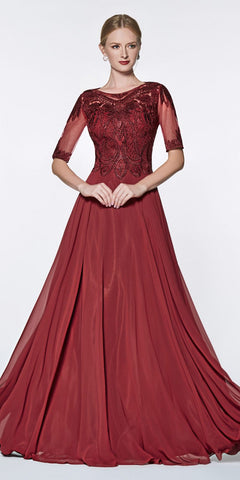 Cinderella Divine CD0134 ¾ Length Sleeve Burgundy A-Line Gown Beaded Lace Top Chiffon Skirt