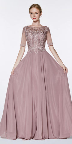 Cinderella Divine CD0134 ¾ Length Sleeve Mauve A-Line Gown Beaded Lace Top Chiffon Skirt