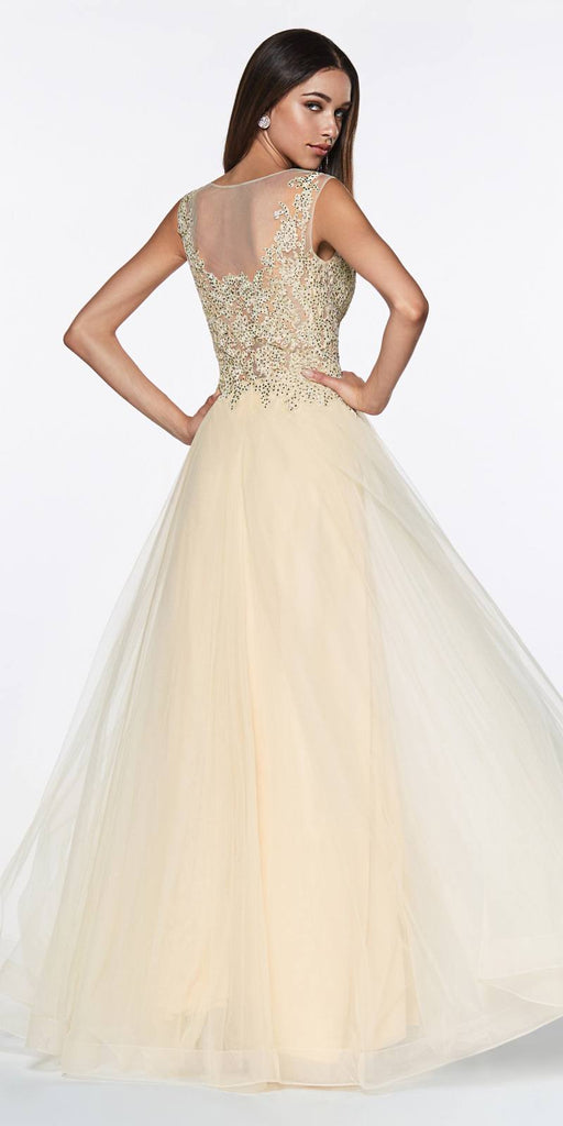 Cinderella Divine CD0136 A-Line Beaded Lace Bodice Dress Champagne Long Tulle Skirt