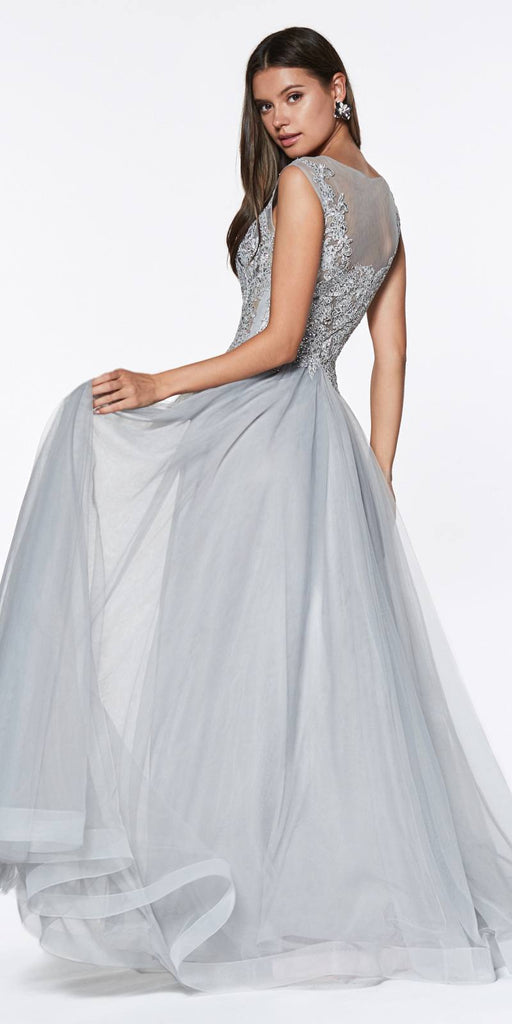 Cinderella Divine CD0136 A-Line Beaded Lace Bodice Dress Silver Long Tulle Skirt Back View