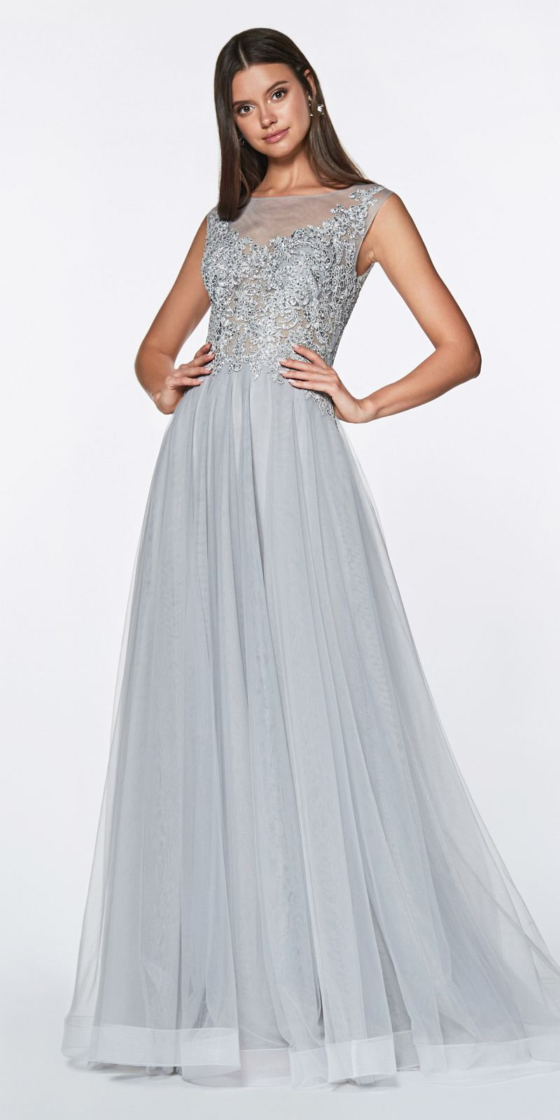 f661e59d57563 Cinderella Divine CD0136 A-Line Beaded Lace Bodice Dress Silver Long Tulle  Skirt ...