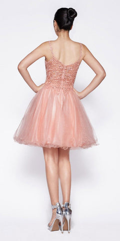 Cinderella Divine CD0137 A-Line Short Dress Blush Glitter Tulle Jewel Lace Bodice