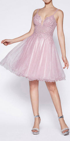 Cinderella Divine CD0137 A-Line Short Dress Mauve Glitter Tulle Jewel Lace Bodice