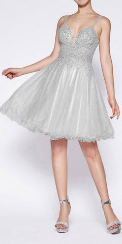 Cinderella Divine CD0137 A-Line Short Dress Silver Glitter Tulle Jewel Lace Bodice