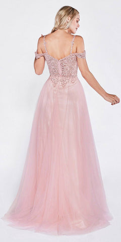 Off The Shoulder Tulle A-Line Gown Blush Long Leg Slit Beaded Bodice