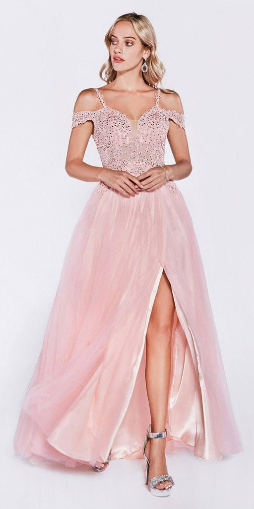 Off The Shoulder Tulle A-Line Gown Silver Long Leg Slit Beaded Bodice