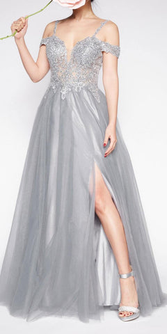 Cinderella Divine CD0138 Off The Shoulder Tulle A-Line Gown Silver Long Leg Slit Beaded Bodice
