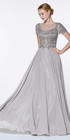 Cinderella Divine CD0139 Long Cap Sleeve Chiffon Gown Gray Beaded Lace Detail Closed Back