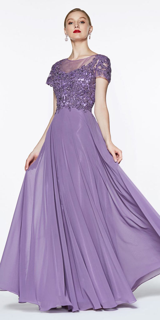 Cinderella Divine CD0139 Long Cap Sleeve Chiffon Gown Violet Beaded Lace Detail Closed Back
