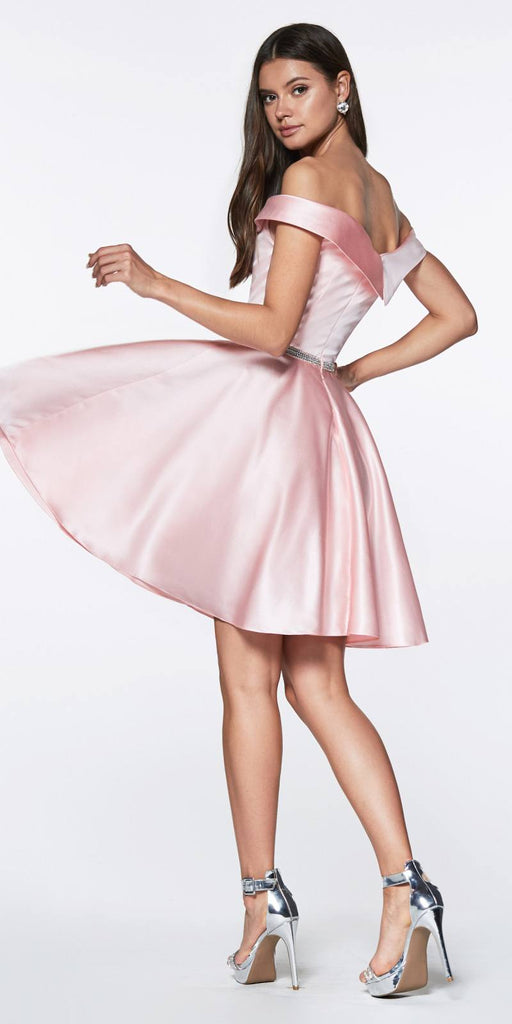 Cinderella Divine CD0140 Off the Shoulder Blush Knee Length Satin Party Dress