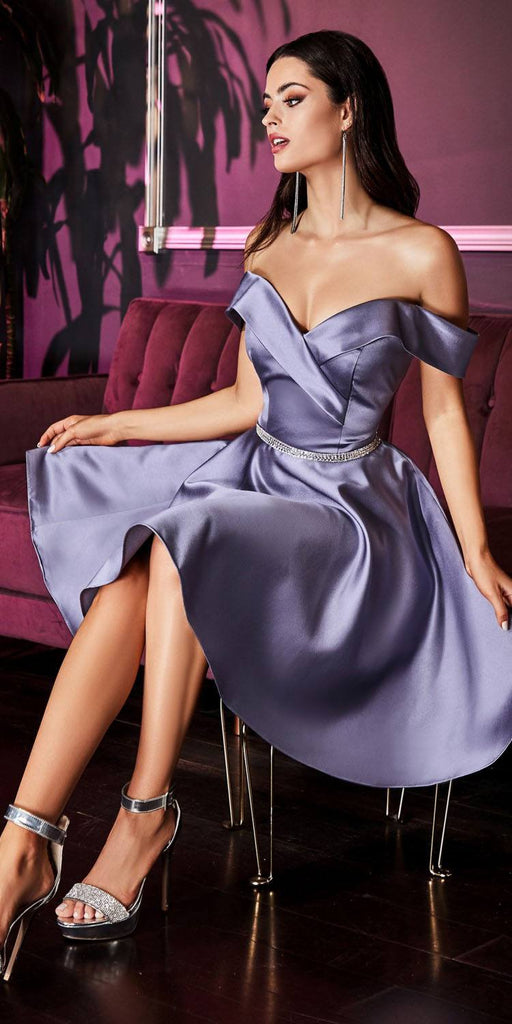 Cinderella Divine CD0140 Off the Shoulder French Lilac Knee Length Satin Party Dress