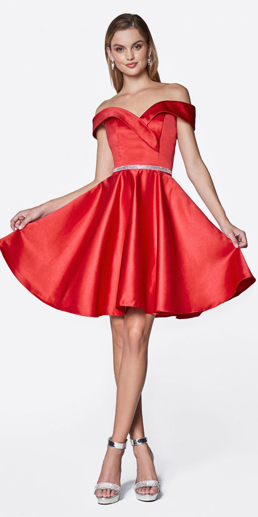Cinderella Divine CD0140 Off the Shoulder Red Knee Length Satin Party Dress