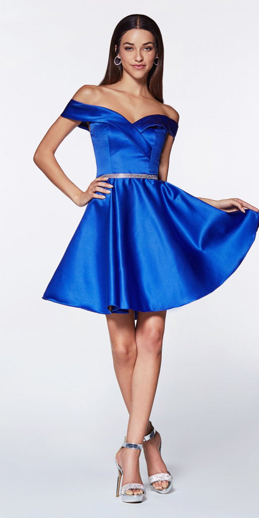 Cinderella Divine CD0140 Off the Shoulder Royal Blue Knee Length Satin Party Dress