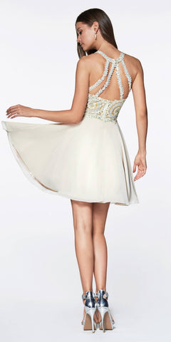 Cinderella Divine CD0141 Short A-Line Dress Champagne Chiffon Skirt Beaded Lace Halter Bodice