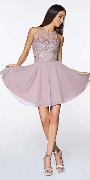 Cinderella Divine CD0141 Short A-Line Dress Mauve Chiffon Skirt Beaded Lace Halter Bodice