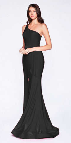 Cinderella Divine CD0143 Black One-Shoulder Long Prom Dress with Slit