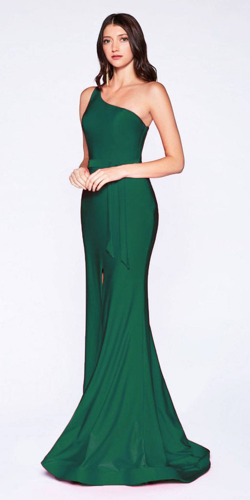 Cinderella Divine CD0143 Emerald Green One-Shoulder Long Prom Dress with Slit