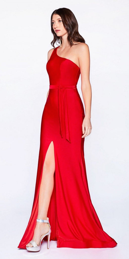 Cinderella Divine CD0143 Red One-Shoulder Long Prom Dress with Slit