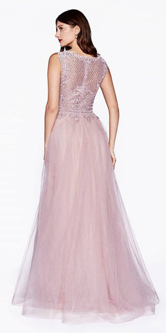 Mauve Appliqued Bodice Long Prom Dress Sleeveless