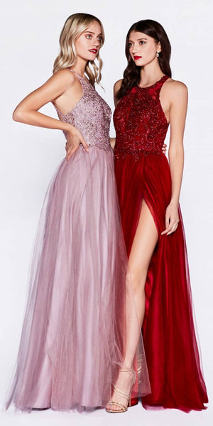 Halter Appliqued Long Prom Dress with Slit Burgundy