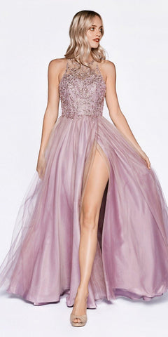 Off The Shoulder Lace A-Line Tulle Gown Dusty Rose Long Lace Up Back