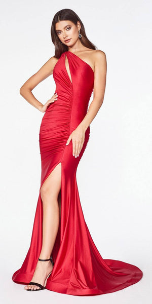 One-Shoulder Ruched Long Prom Dress with Slit Red