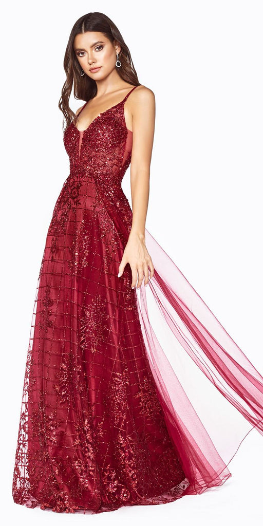 Fitted Sheath Long Gown Apple Red Glitter Print Details And Tulle Overskirt.