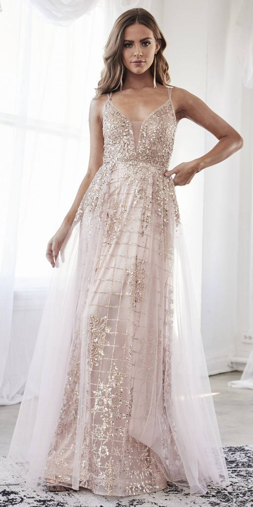 Fitted Sheath Long Gown Rose Gold Glitter Sequin Details Tulle Overskirt