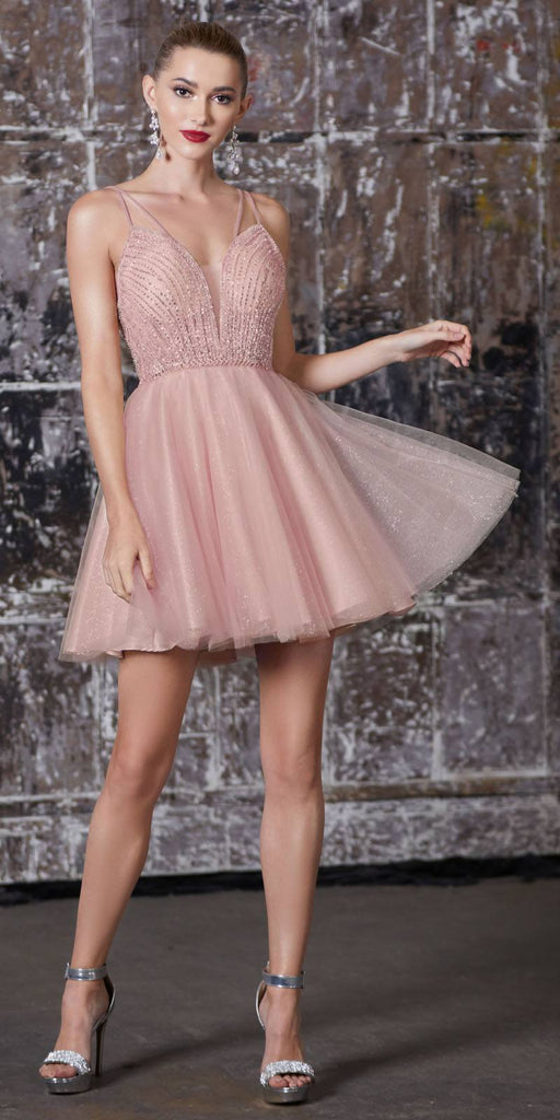 A-Line Short Dress Blush Embellished Bodice Layered Tulle Glitter Skirt