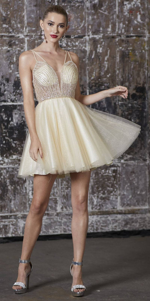 A-Line Short Dress Champagne Embellished Bodice Layered Tulle Glitter Skirt