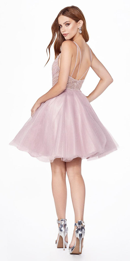A-Line Short Dress Mauve Embellished Bodice Layered Tulle Glitter Skirt