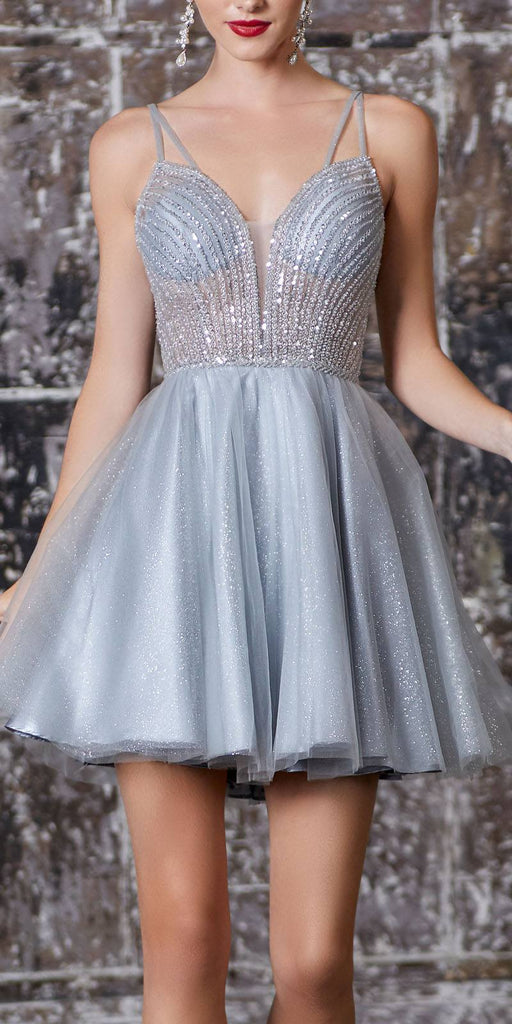 A-Line Short Dress Silver Embellished Bodice Layered Tulle Glitter Skirt