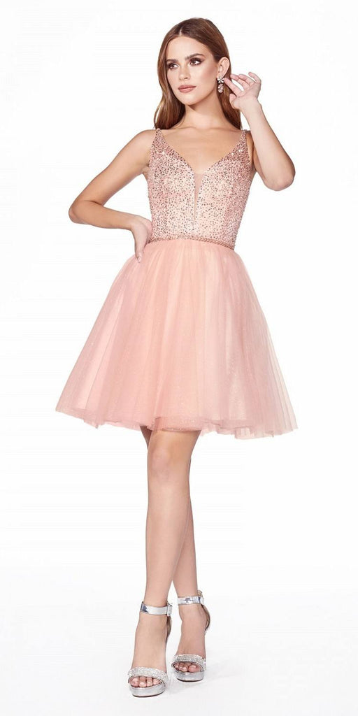 Embellished Bodice Blush Homecoming Short Dress